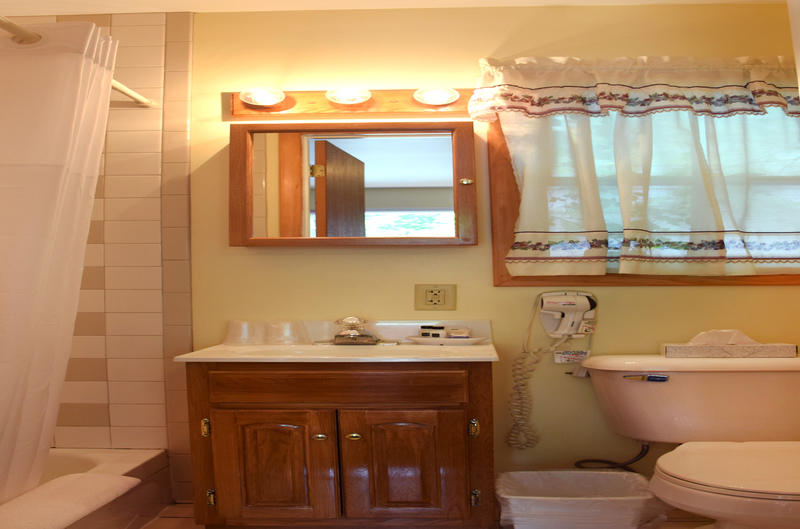 Bathroom with Shower, sink, and hairdryer