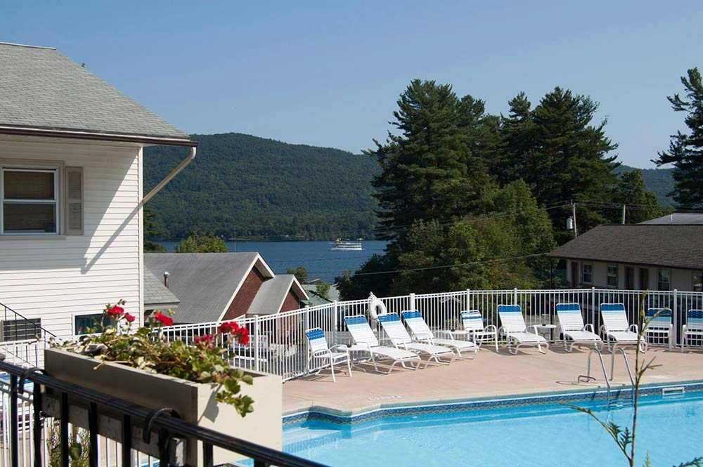 Pool deck overlooking Lake George