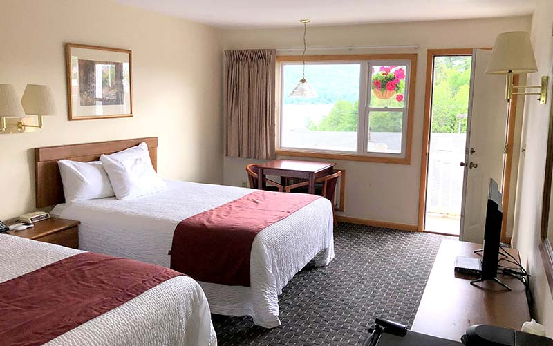 Lake George motel room with view of the Lake
